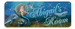 Dolphins Mermaid Welcome Wall Sign Customize Gifts Outdoor Indoor Any Text