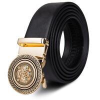 Luxury Lion Designer Men's Automatic Sliding Ratchet Buckle Genuine Leather Belt