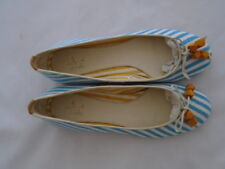J Shoes Amarante Blue Multi Coloured Canvas Ballerina Pumps UK 5 EU 38 NEW