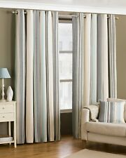 Riva Home Broadway Stripe Woven Lined Eyelet Curtains Duck Egg Blue 66 X 90