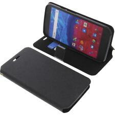 Tasche für Archos Core 55 Smartphone Book-Style Schutz Hülle Buch Schwarz