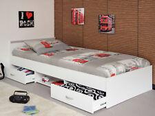 Jugendbett 90x200 cm Gästebett Mega 1.1 Stauraumbett in weiß mit Schubkästen