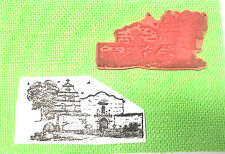 Scenic rubber stamp houses tree birds unmounted die  scenery travel cross Church