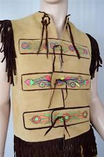 Vtg 1970's Men's Neon Flower Painted Suede HiPPiE BoHo Fringed WooDsToCk Vest