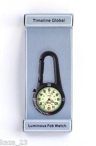 TLG Clip on Carabiner Sprung Paramedic Luminous Glow Doctors Nurses Fob Watch