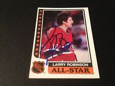 Larry Robinson Canadiens 1986-87 Topps All-Star Hockey Signed Auto Card