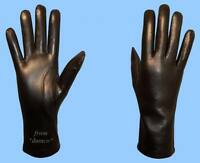 NEW WOMENS size 8.5 - 2XL SHEARED RABBIT FUR LINED BLACK LAMBSKIN LEATHER GLOVES