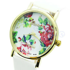 HOT! High Quality Women Girl Rose Flower Geneva Leather Watch Quartz Watches