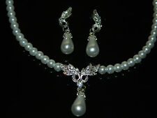 Bridal Jewellery for Wedding Pearls Leaves Jewellery Set Earrings Necklace S150
