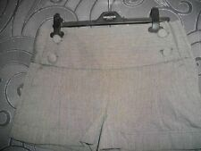 * PRIMARK * GREY COTTON BUTTON FRONT PIN STRIPE SHORTS + TURN UP SIZE 12 RRP £12