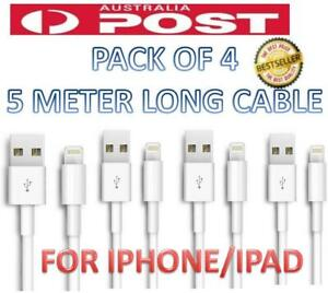 4X 5M Lightning Data Charger Cable Cord Compatible for Apple iPhone 12/11 ipad