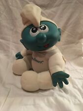 "VINTAGE 14"" BABY SMURF DOLL PLUSH AND VINYL LARGE 1984 TOY"