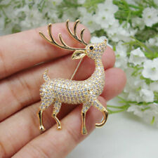 Vintage Christmas Deer Clear Zircon Crystal Brooch Pin Holiday Gift Animal