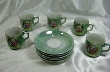 1950's MADE IN JAPAN 10PC TEA CUP/SAUCER SET - MINT GREEN/GOLD/IRIDESCENT OPAL