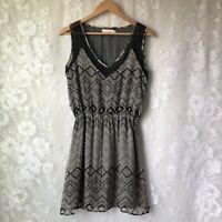 Johnny Was 4 Love & Liberty Silk Dress Sheer Black Beige Print Boho Women's XS