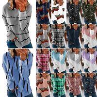 Women Long Sleeve T-shirt Tops Ladies Casual Loose Jumper Blouse Pullovers LIU