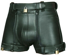 MENS REAL COWHIDE LEATHER CHASTITY SHORTS WITH FREE 4 PADLOCKS