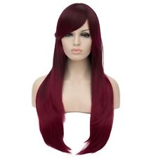 Fashion Women Wine-Red Lolita Wigs long Straight hair Fluffy Synthetic Full Wig