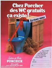 PUBLICITE ADVERTISING 095  1984  PORCHER  sanitaires wc SALONS DE BAIN