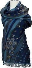 Pashmina bufanda 100% lana wool mano bordadas scarf Stole mano embroidered estrellas