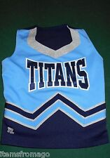 Teamleader Titans Lt Blue, Navy, Slvr, White Cheerleading Uniform Top Yth Large