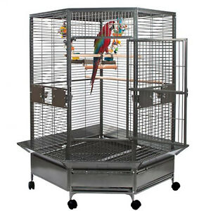 Black Vein 184cm Corner Parrot Aviary Bird Cage Perch Budgie On Wheels 8501