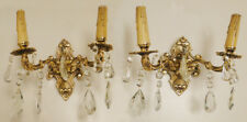 Antique solid bronze and glass french pair of sconces (1206)