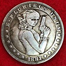 Very large girl with gun tibetan silver morgan dollar coin