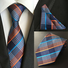 Classic Set Man Silk ties & Handkerchief Pocket Square Muti color Plaids Stripes