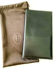 "Parmigiani Black Leather Long Wallet Travel Document Holder Men's 4.85""x8.5"""