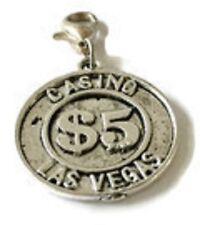 LOVELY ROUND SILVER $5 DOLLAR CASINO COIN TOKEN CLIP-ON CHARM -SILVER TONE
