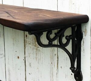 Reclaimed look Vintage style solid wood shelf with cast iron wall/ shelf bracket