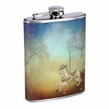 Carousel Em1 Flask 8oz Stainless Steel Hip Drinking Whiskey