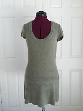 BCBG Max Azria Green Angora Wool Blend Mixed Weave SS Sweater Dress Sz L