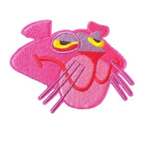 Pink Panther Face Iron On Patch - Pink Panther retro TV show sew on transfer