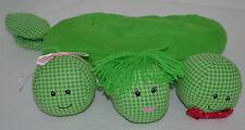 "Three PEAS IN A POD Plush Zipper Pocket Stuffed Stitched Faces 10"""
