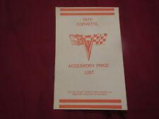 1972 CHEVROLET CORVETTE DEALER MODEL OPTION PRICE LIST