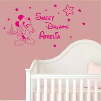 Mickey Mouse SWEET DREAMS personalised Name Girls-Boys Wall Stickers Stiker xxx