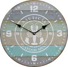 Uhr runde Wanduhr maritim Hummer Holz 34cm hellblau grau groß Vintage Meer NEU