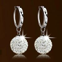 1 Pair Fashion Silver Plated Crystal Rhinestone Ball Dangle Hoop Earrings Womens