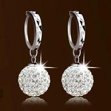 1 Pair Fashion Silver Plated Crystal Rhinestone Ball Dangle Hoop Earrings Womens