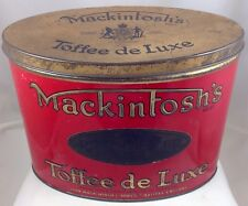 MACKINTOSH'S LARGE OVAL TOFFEE DE LUXE BRITISH CANDY TIN c1925