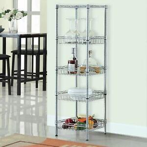 5 Tier Chrome Wire Shelving Baskets Kitchen Storage Organiser Unit Rack Holder