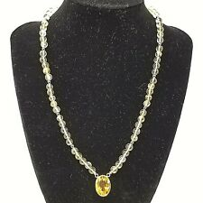 """Laura Ramsey SOLID 18K YG Citrine Oval and Bead and Hematite Necklace 18"""""""