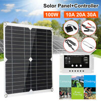100W Solar Panel kit 12V battery Charger +10/20/30A LCD Controller Dual USB Tool