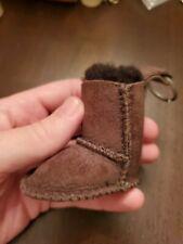 Ugg Australia Authentic SHEEPSKIN BOOT KEYCHAIN Miniature Chestnut SILVER RING