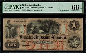 1850's $1 Obsolete - Omaha, Nebraska - Omaha City Bank & Land Co. - PMG 66 EPQ