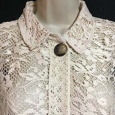 ZARA Women's UK 12 M Ecru Mesh Lace Top Chunky Button Shirt Preppy Landgirl NEW