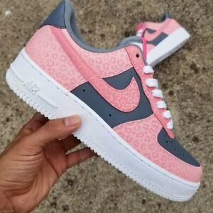 Nike Air Force 1 Low Men's Custom Pink Cheetah Print Sneakers