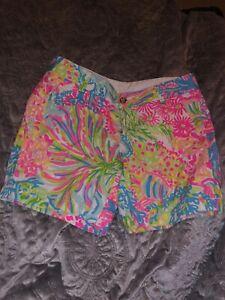 LILLY PULITZER 6 Jayne Cotton Shorts ALWAYS SUMMER SOMEWHERE EUC